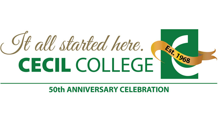 Cecil College's 50th anniversary logo.
