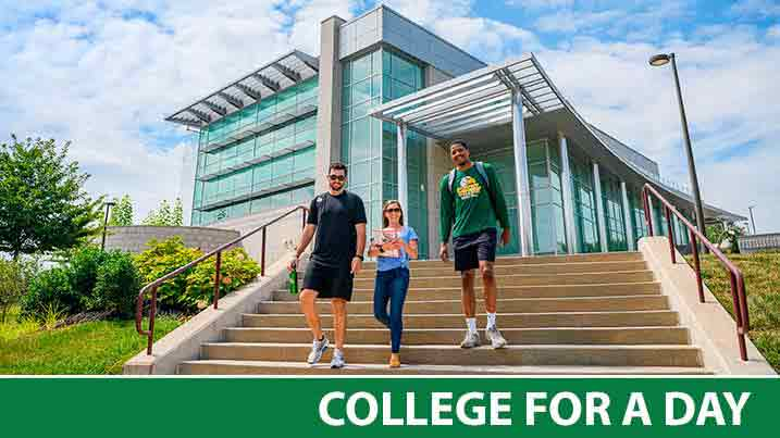 college students walking down steps at cecil college campus