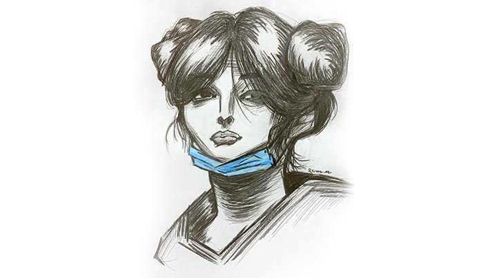 Pencil sketch of young woman wearing a face mask.