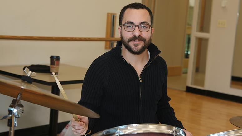 Percussions instructor Ben Goldman on his drums