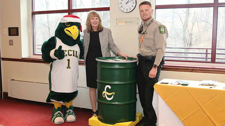 Dr. Bolt with Gibson and Garett Shaffer during the time capsule closing event.