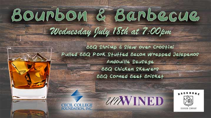Bourbon & Barbecue, Wednesday, July 18th at 7:00pm at Unwined in North East, Maryland