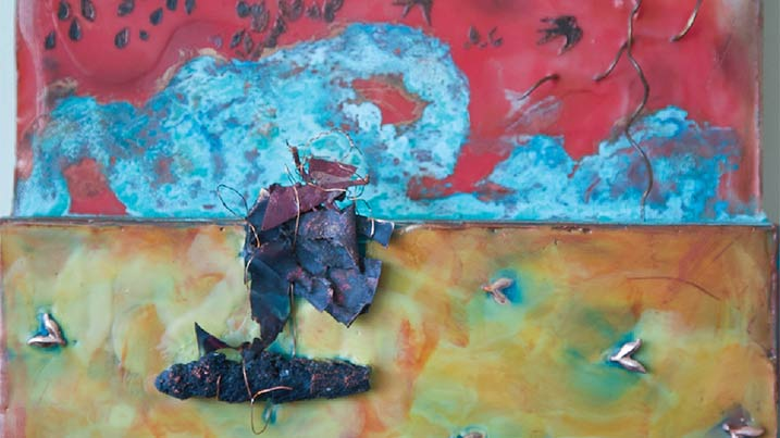 """Shown artwork is entitled """"Sailing into the Unknown."""" The media is copper, encaustic wax, wire and oil."""