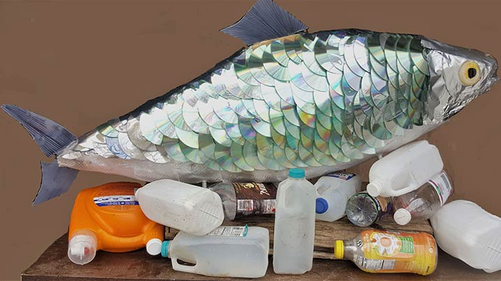 """Nic Galloro's latest exhibition, """"Microplastics,"""" highlights the impact humans have on the Susquehanna River and the Chesapeake Bay by revealing the effect plastics are having on the environment."""