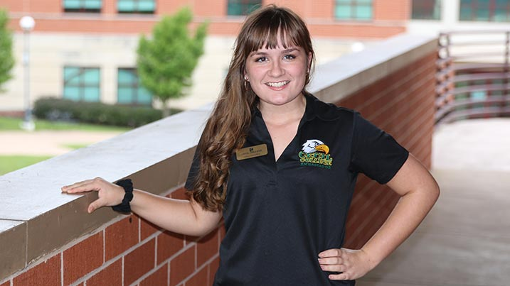 Gina Handley stands on the elevated walkway at Cecil. College's North East Campus.