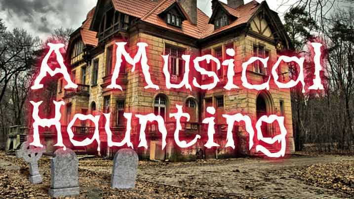 A Musical Haunting image of a creepy house with headstones in the front yard