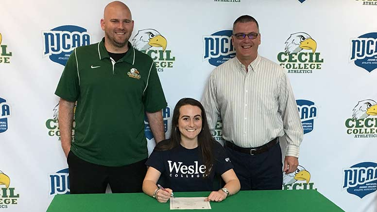 Katie Shields signs a letter of intent to play soccer at Wesley College
