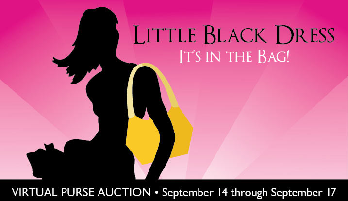 Promo for little black dress event with silhouette of woman holding purse