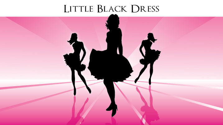 Illustration of women in black dresses.