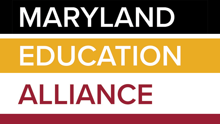 This is the logo for the Maryland Education Alliance. There are four colors featured in this logo, black, white, gold and red.
