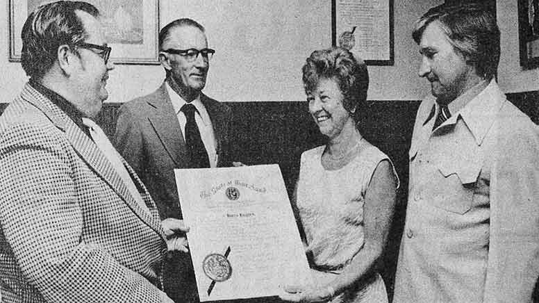 Mary Maloney receiving her certificate of office