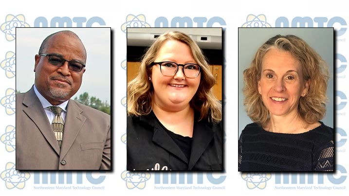 The Northeastern Maryland Technology Council bestowed high honors upon three Cecil College faculty and staff members for their STEM education work. Seen here are Associate Professor James Morgan, Ph.D.; Science and Engineering Lab Coordinator Kayla Ross; and Professor Kimberly Sheppard.