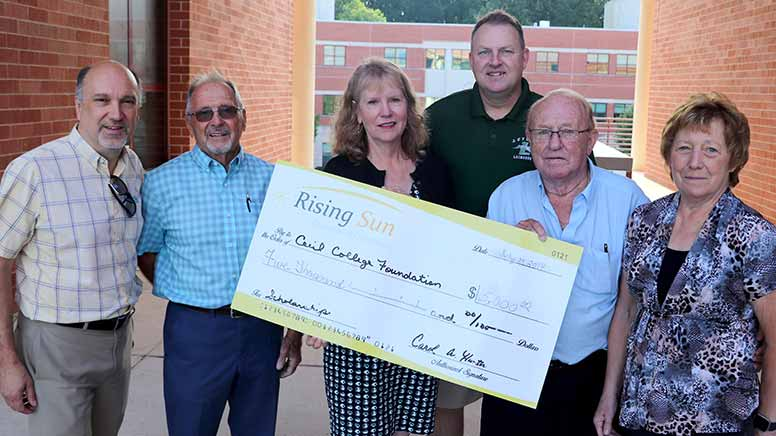 This is a photo of the check donation from the Rising Sun Chamber of Commerce.
