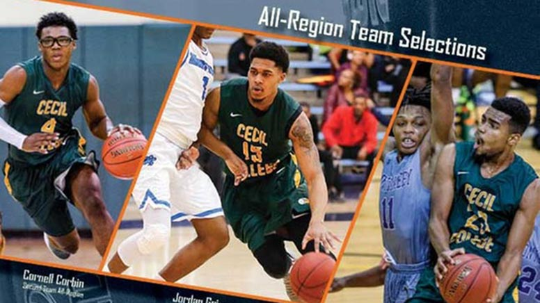 Three members of the men's basketball team selected to the All-Region 20 team