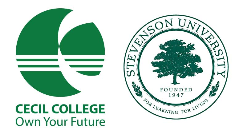 This image is of the logos for Cecil College and Stevenson University.