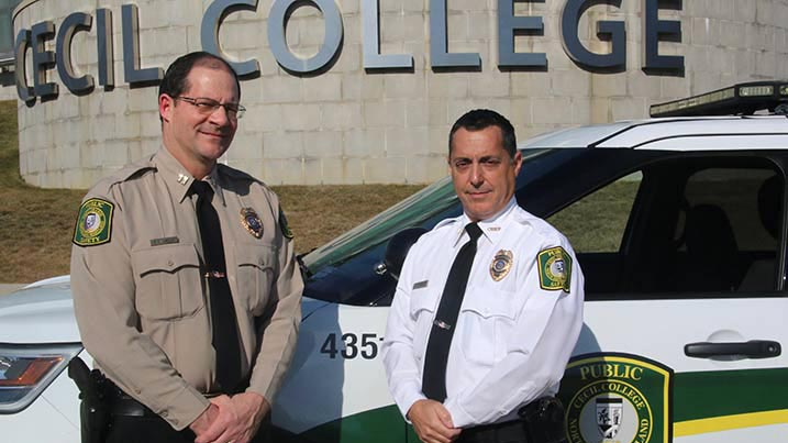 A photo of Public Safety officers at Cecil College's North East campus.