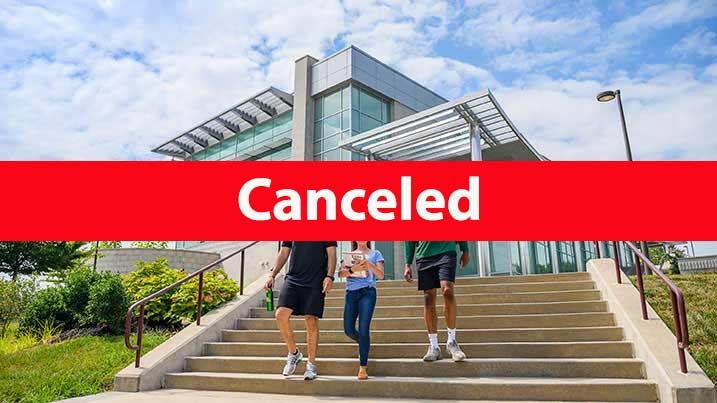 Students on the North East campus. Text reads: Canceled.