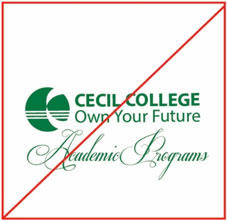 Cecil College logo in an unapproved lockup