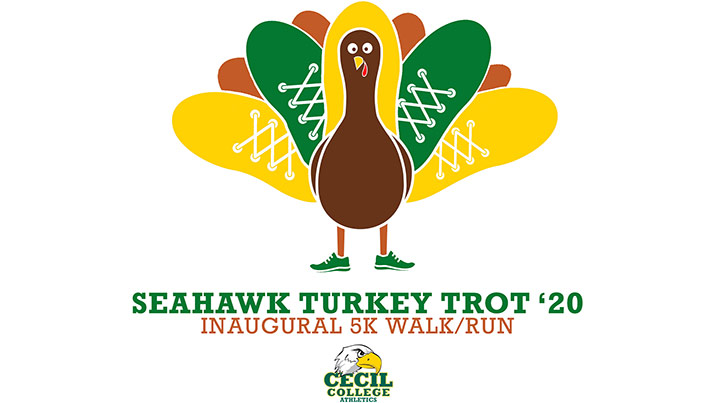 image of turkey wearing sneakers for cecil college inaugural turkey trot